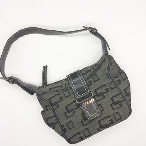 GUESS Small Gray and Black Purse Fold Over Zipper